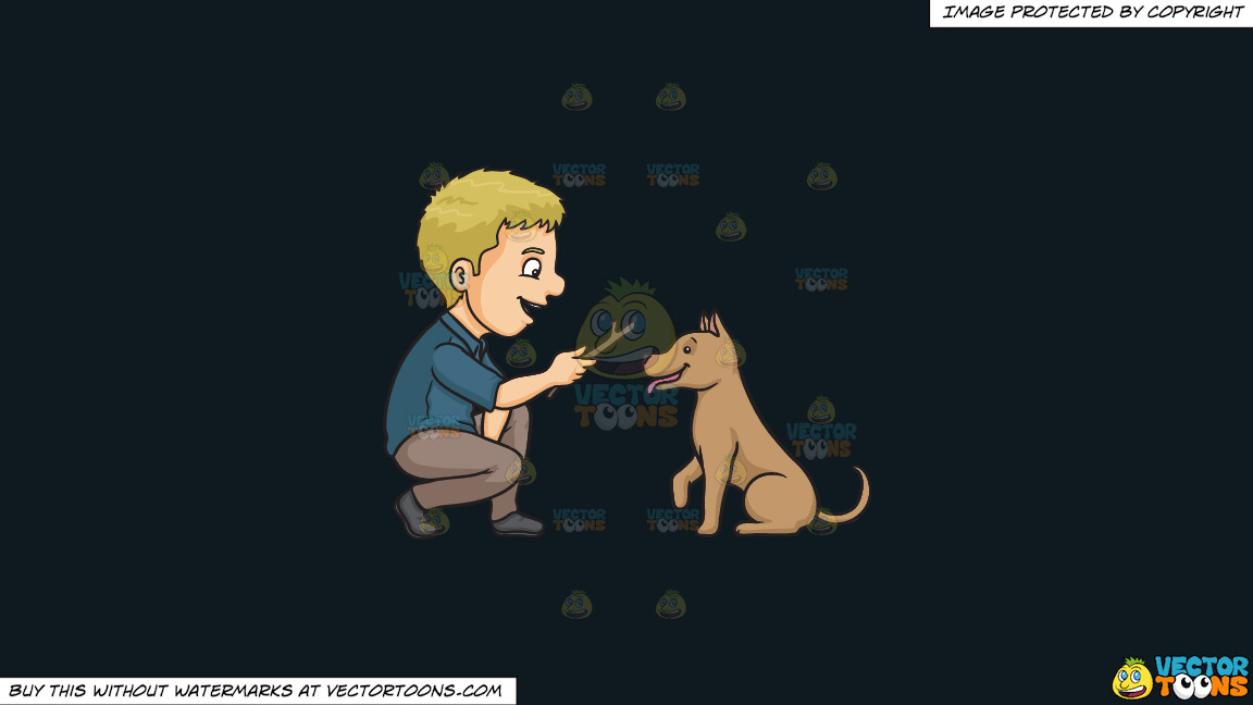 A Man Playing Fetch The Stick With His Dog On A Solid Off Black 0f1a20 Background thumbnail