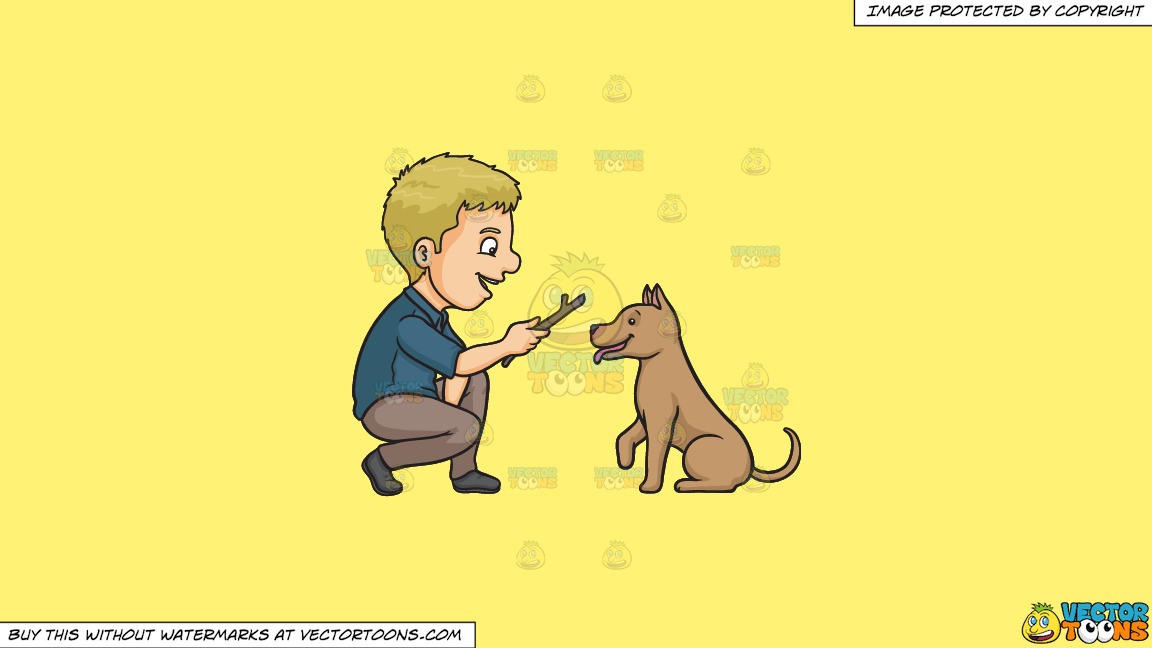 A Man Playing Fetch The Stick With His Dog On A Solid Sunny Yellow Fff275 Background thumbnail