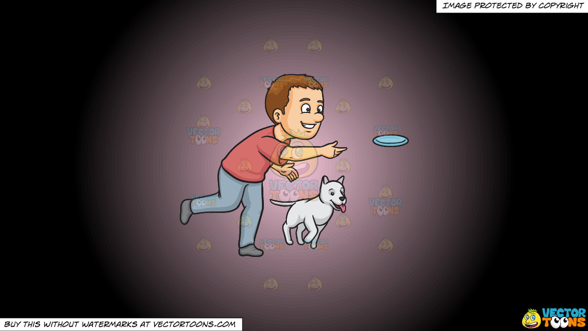 A Man Playing Frisbee With His Dog On A Pink And Black Gradient Background thumbnail