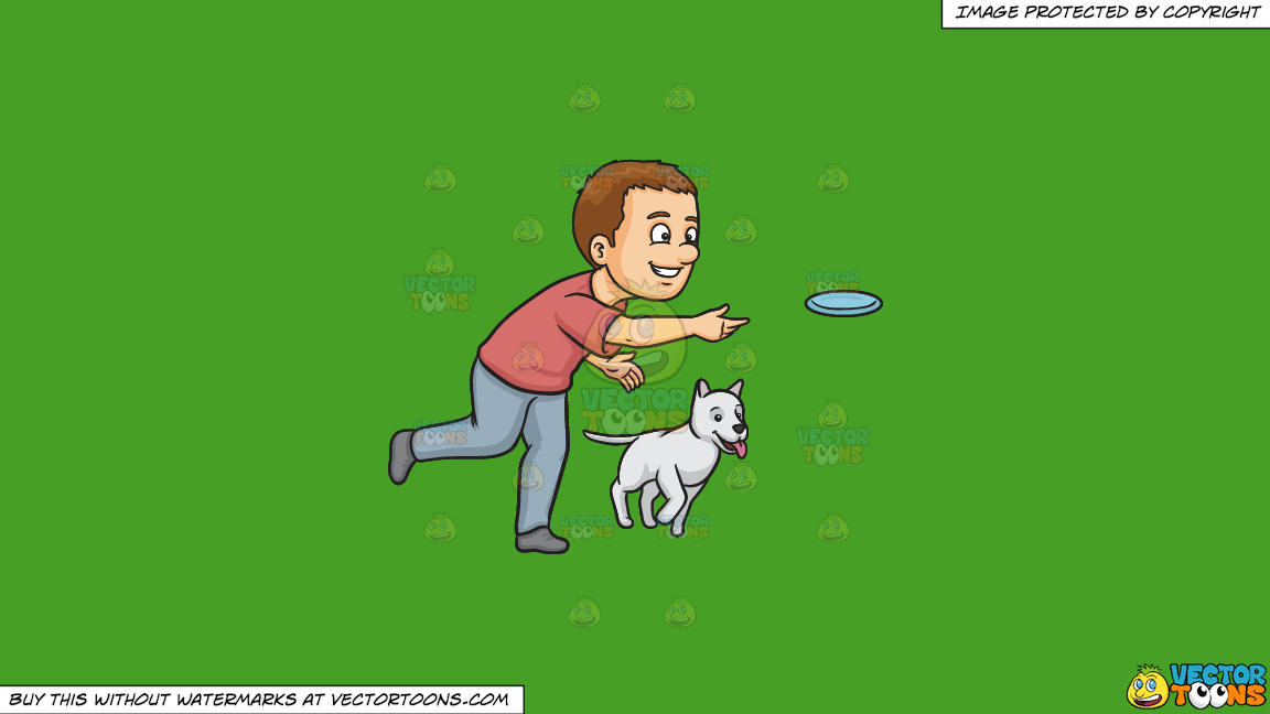 A Man Playing Frisbee With His Dog On A Solid Kelly Green 47a025 Background thumbnail