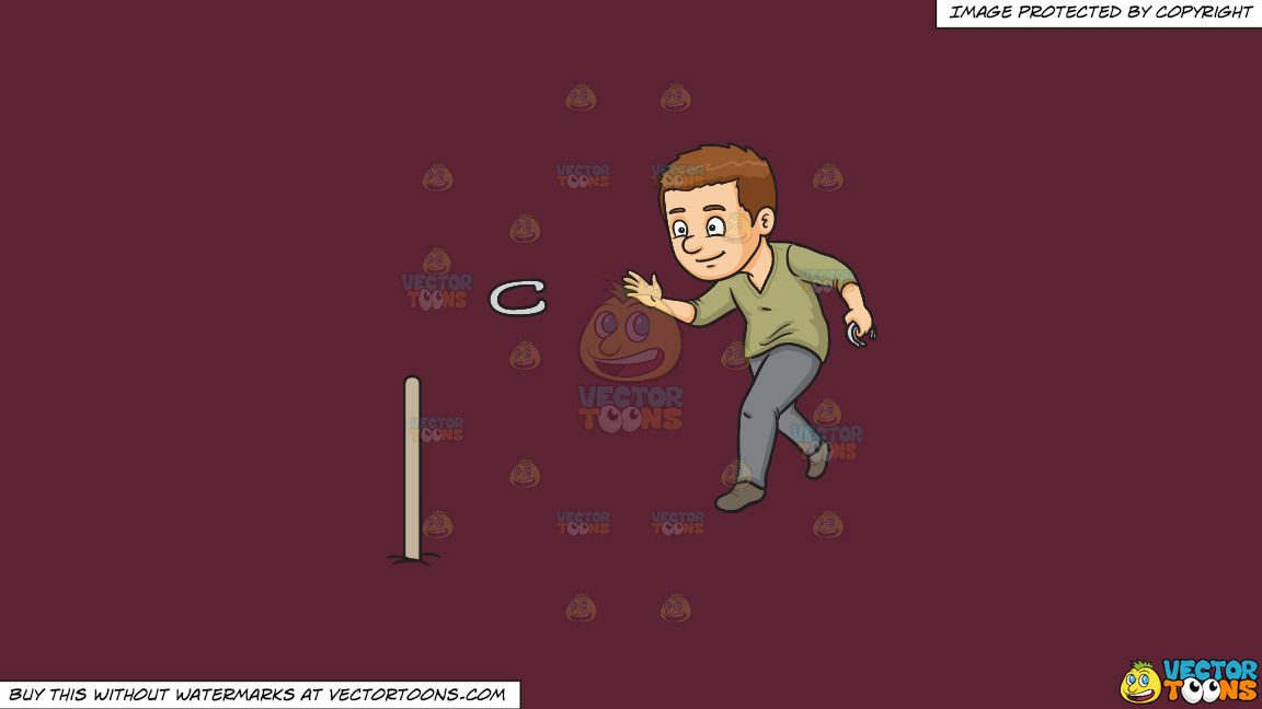 A Man Playing Horseshoes On A Solid Red Wine 5b2333 Background thumbnail