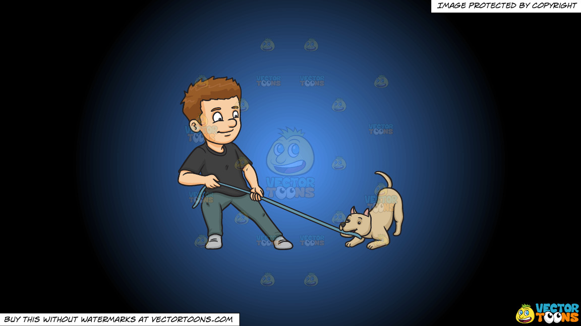 A Man Playing Ropes With His Dog On A Blue And Black Gradient Background thumbnail