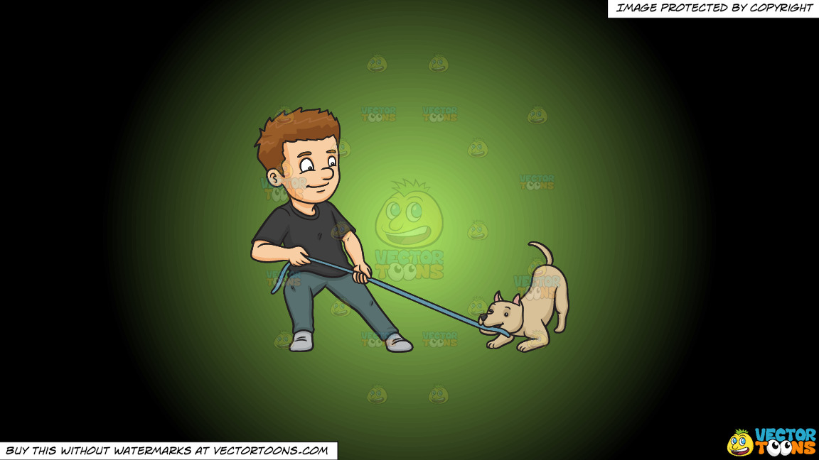 A Man Playing Ropes With His Dog On A Green And Black Gradient Background thumbnail