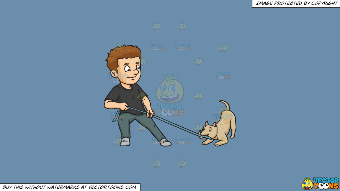 A Man Playing Ropes With His Dog On A Solid Shadow Blue 6c8ead Background thumbnail