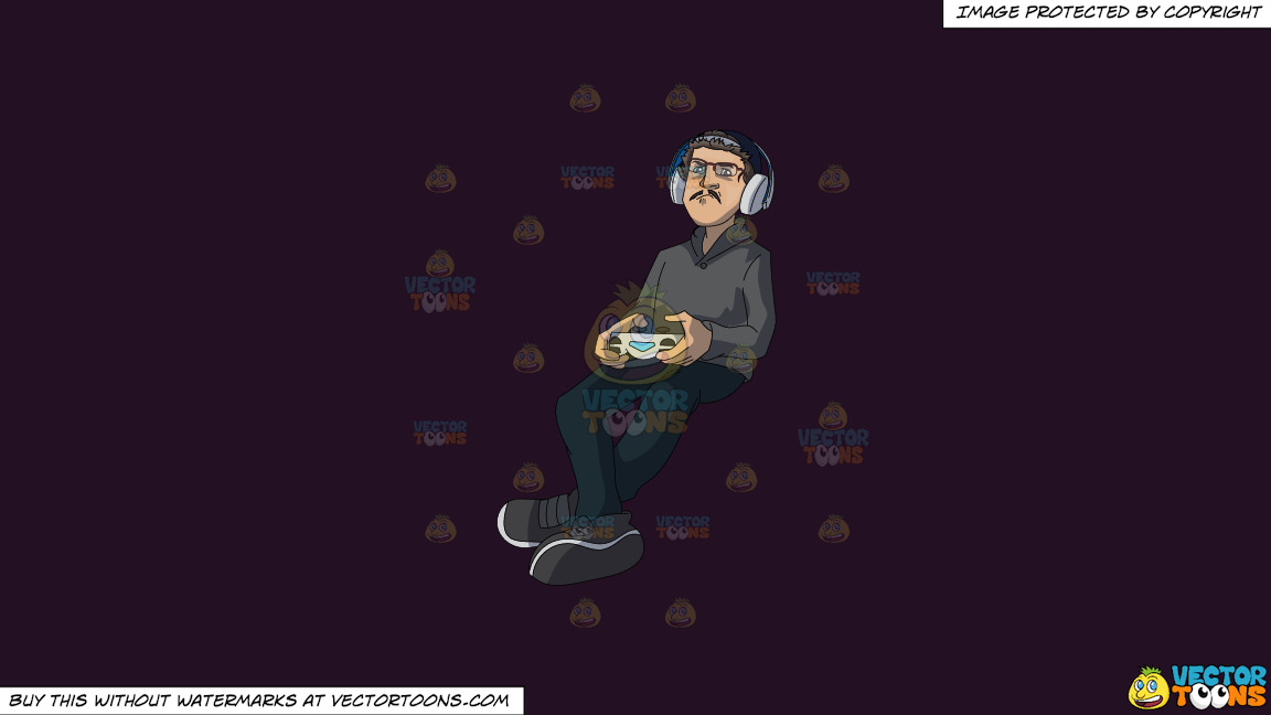 A Man Playing Video Games On A Solid Purple Rasin 241023 Background thumbnail