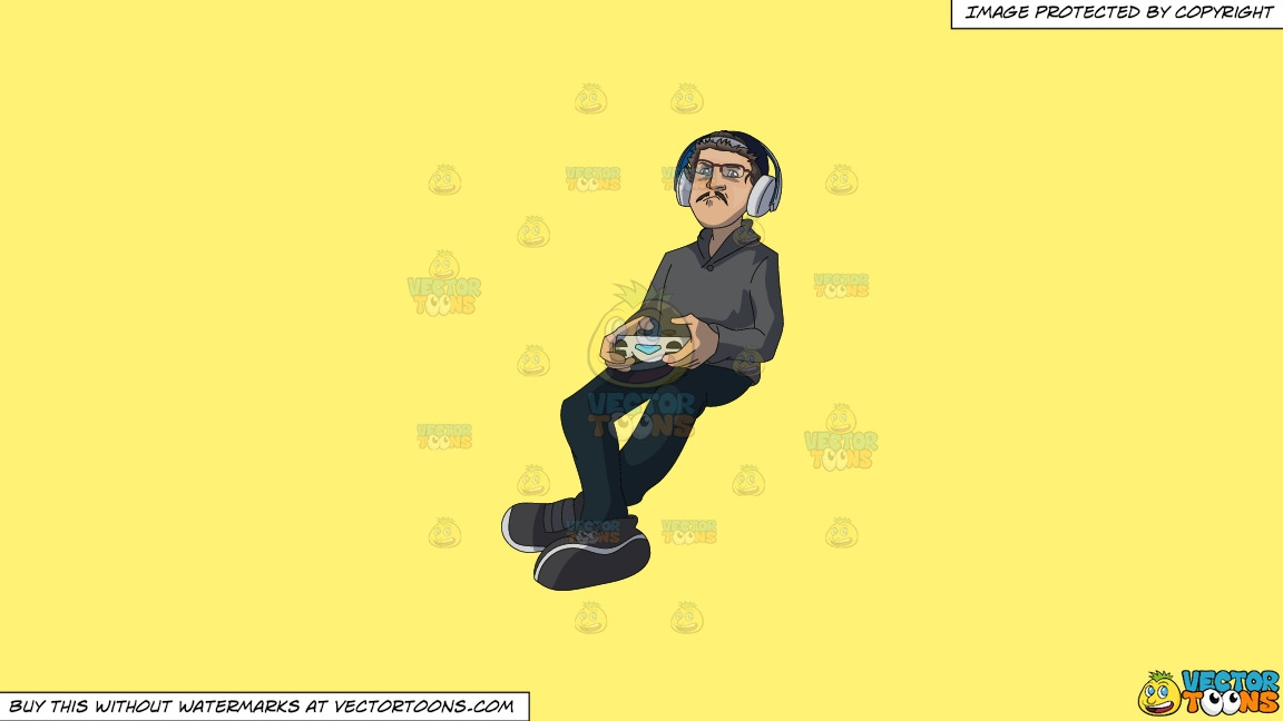 A Man Playing Video Games On A Solid Sunny Yellow Fff275 Background thumbnail