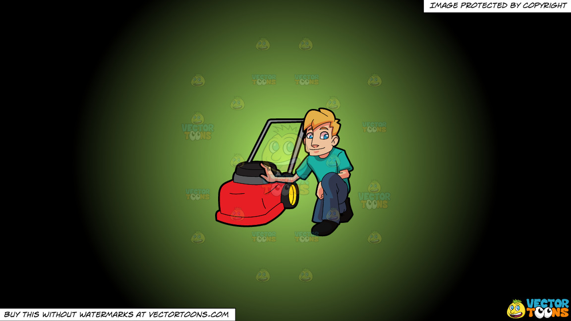 A Man Poses With His Lawnmower On A Green And Black Gradient Background thumbnail