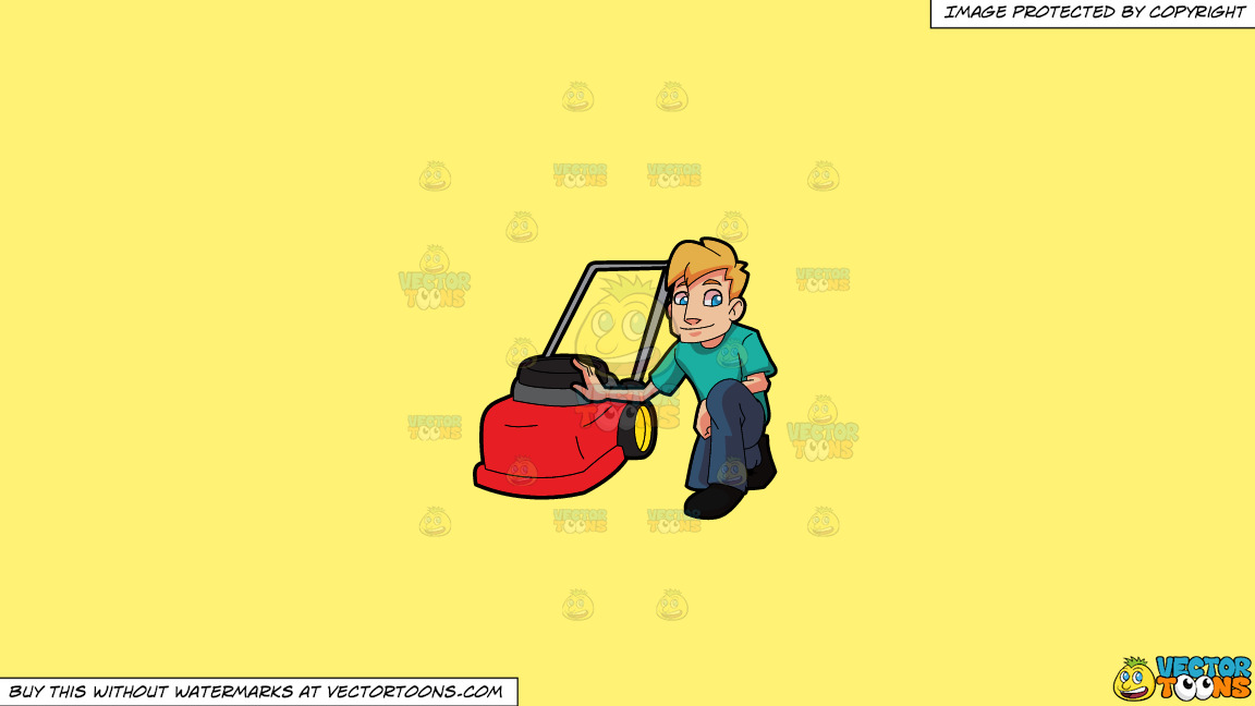 A Man Poses With His Lawnmower On A Solid Sunny Yellow Fff275 Background thumbnail