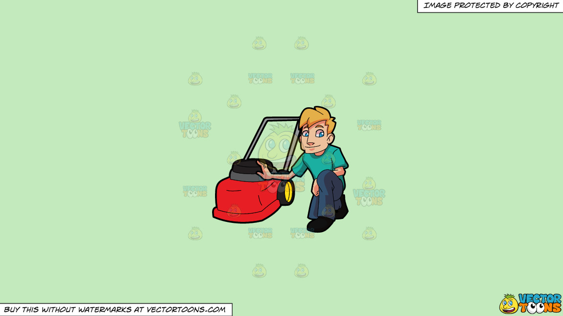 A Man Poses With His Lawnmower On A Solid Tea Green C2eabd Background thumbnail