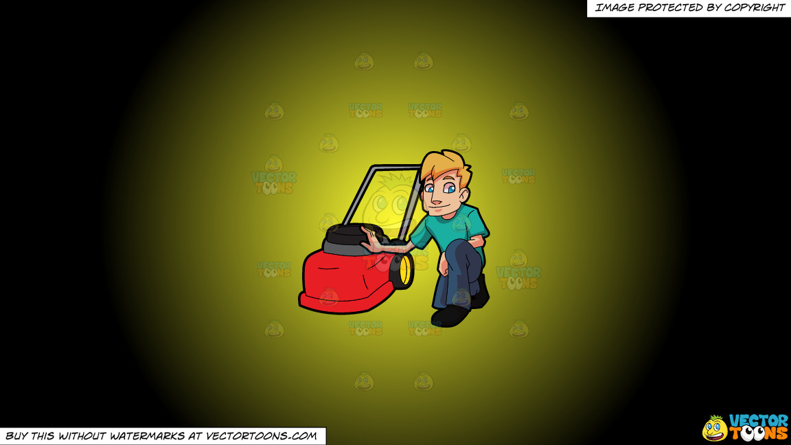 A Man Poses With His Lawnmower On A Yellow And Black Gradient Background thumbnail