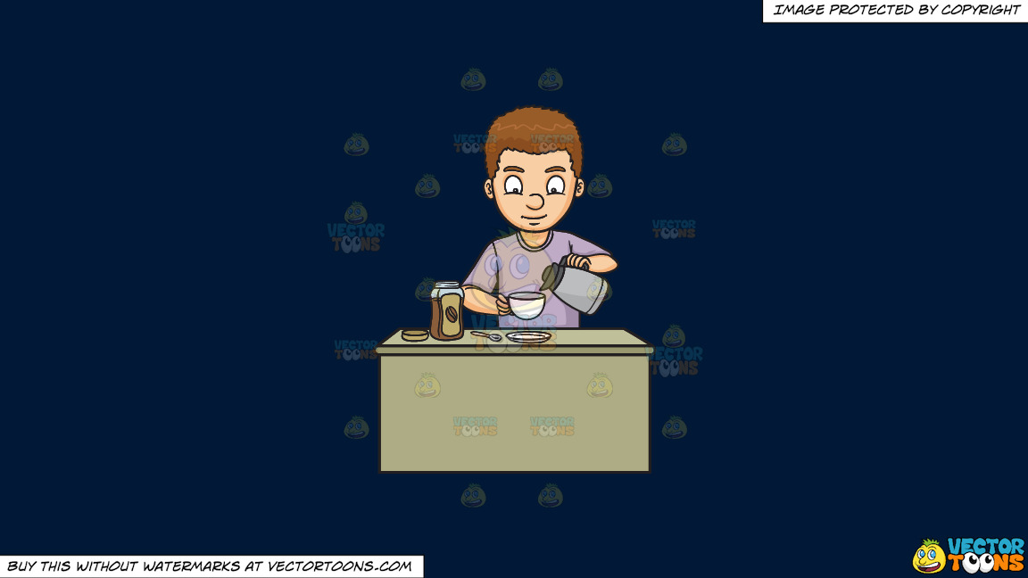 A Man Preparing Instant Coffee On A Solid Dark Blue 011936 Background thumbnail