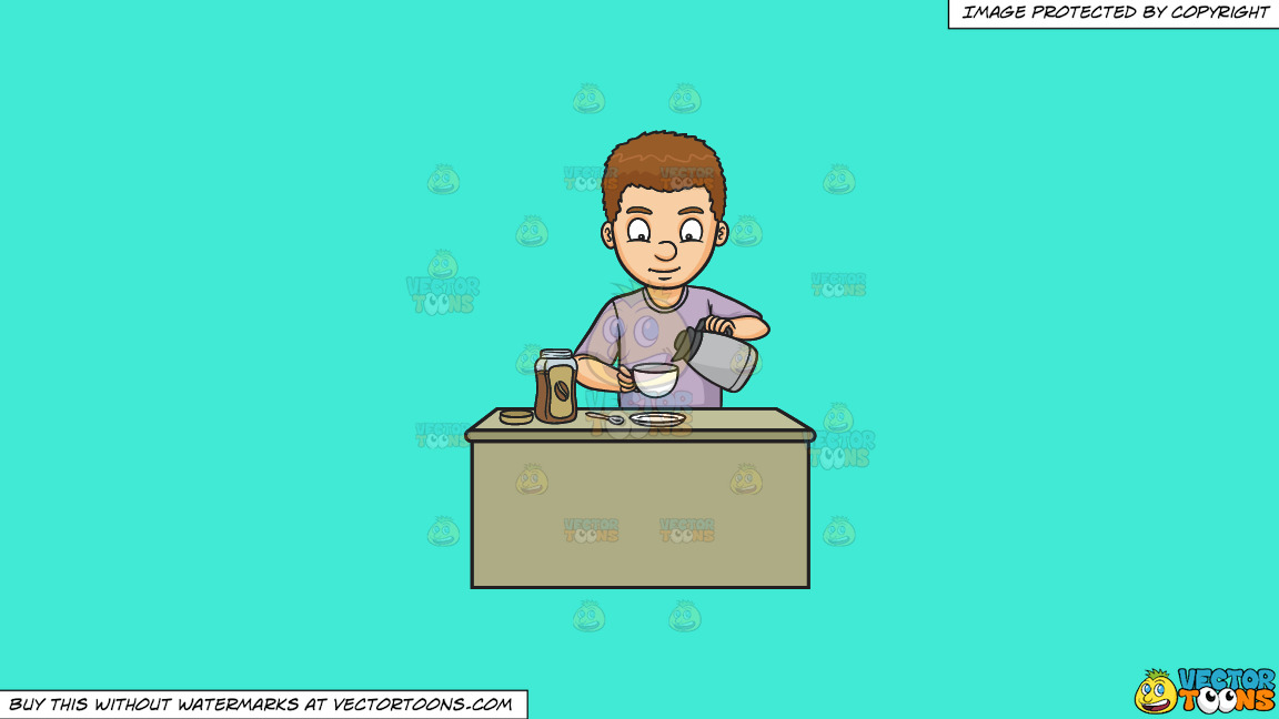 A Man Preparing Instant Coffee On A Solid Turquiose 41ead4 Background thumbnail