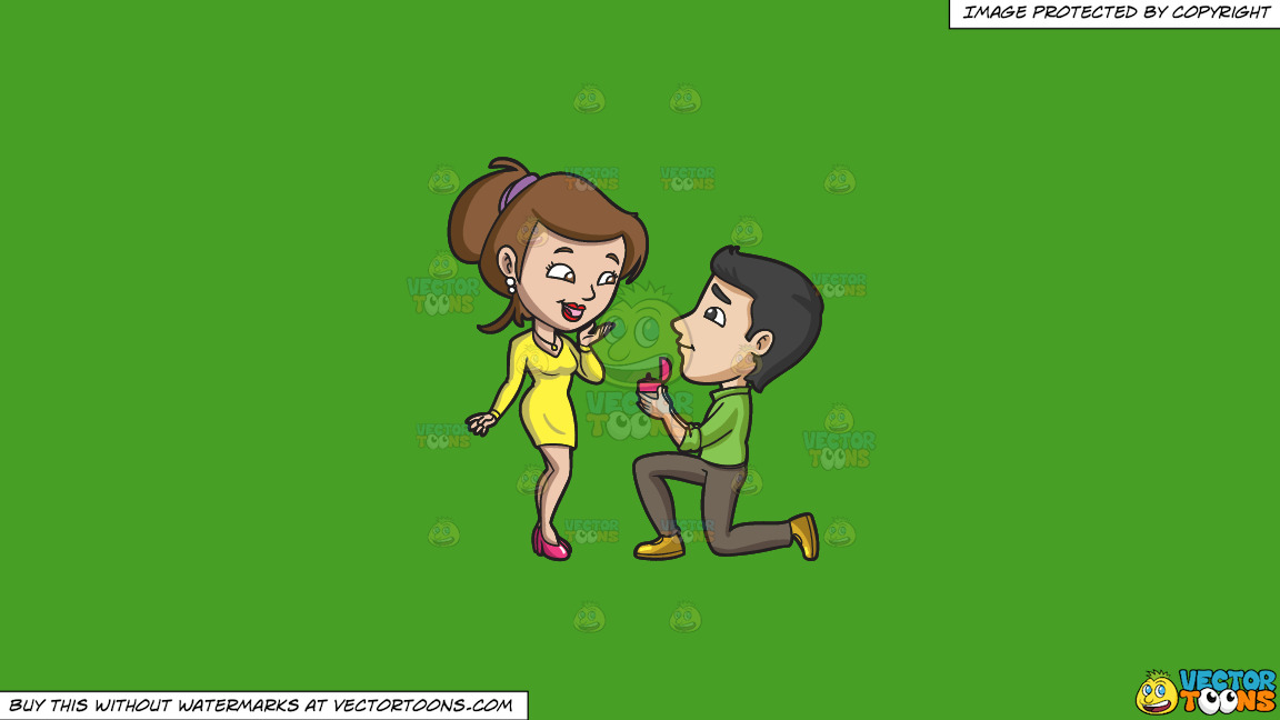 A Man Proposing Marriage At The Surprise Of His Girlfriend On A Solid Kelly Green 47a025 Background thumbnail