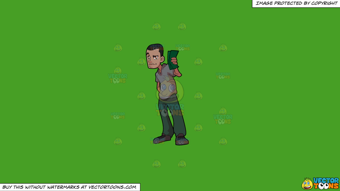 A Man Proudly Showing His Cash On A Solid Kelly Green 47a025 Background thumbnail