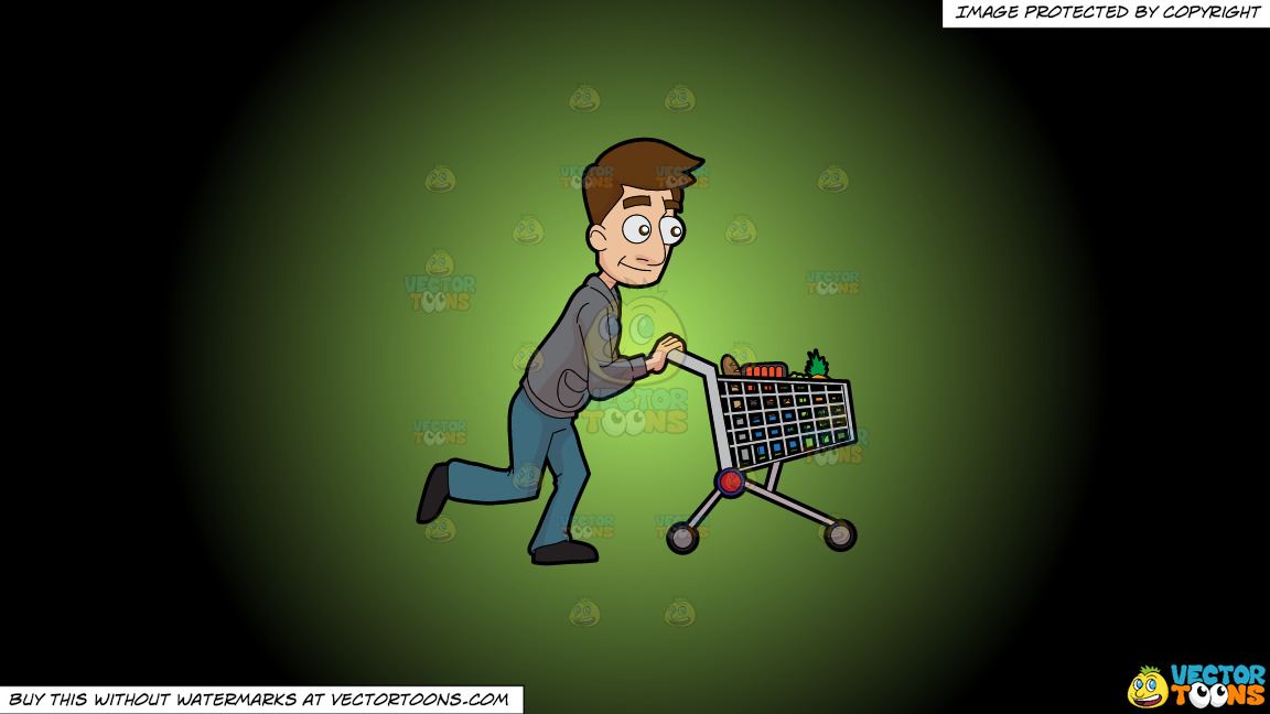 A Man Pushing A Grocery Cart On A Green And Black Gradient Background thumbnail