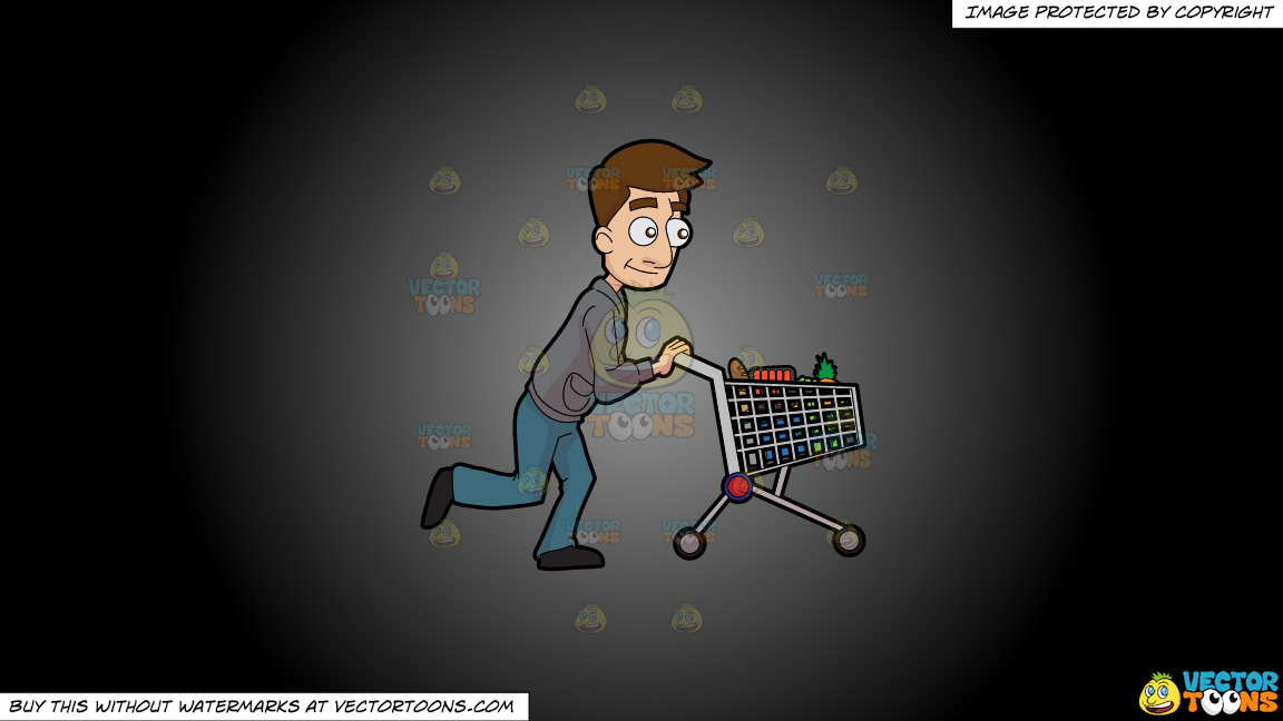 A Man Pushing A Grocery Cart On A Grey And Black Gradient Background thumbnail