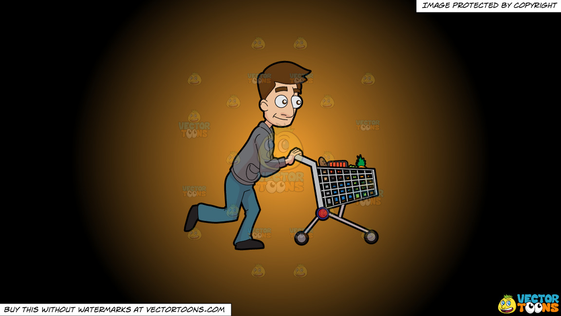 A Man Pushing A Grocery Cart On A Orange And Black Gradient Background thumbnail