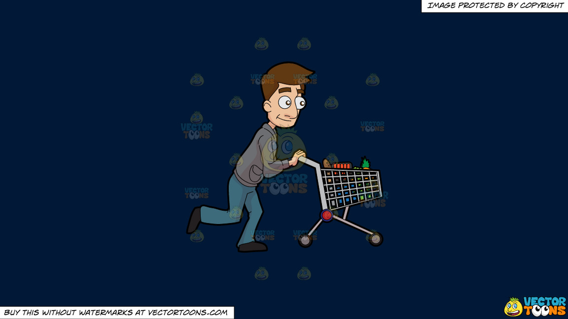 A Man Pushing A Grocery Cart On A Solid Dark Blue 011936 Background thumbnail