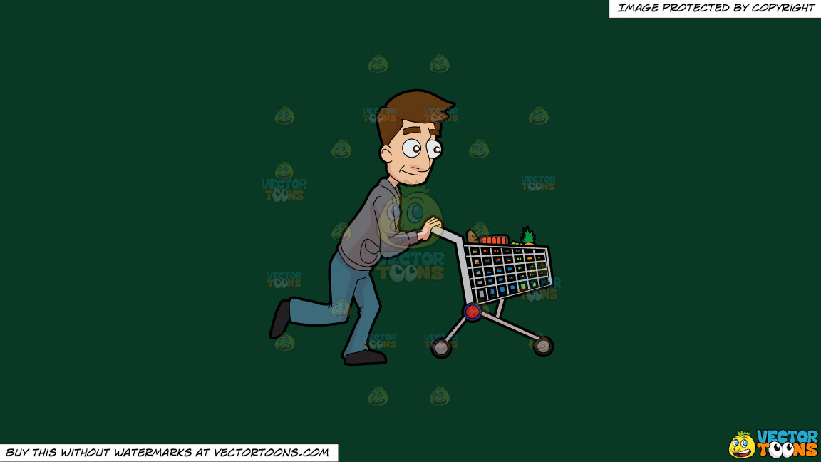 A Man Pushing A Grocery Cart On A Solid Dark Green 093824 Background thumbnail