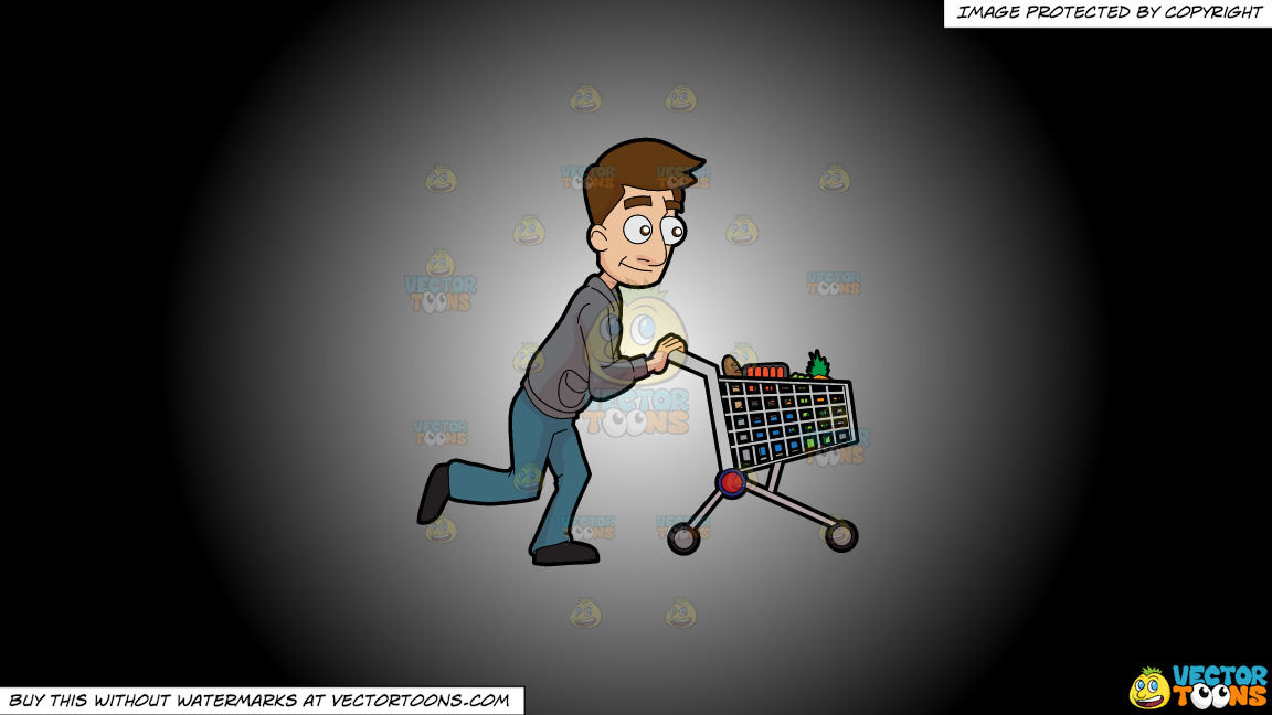 A Man Pushing A Grocery Cart On A White And Black Gradient Background thumbnail
