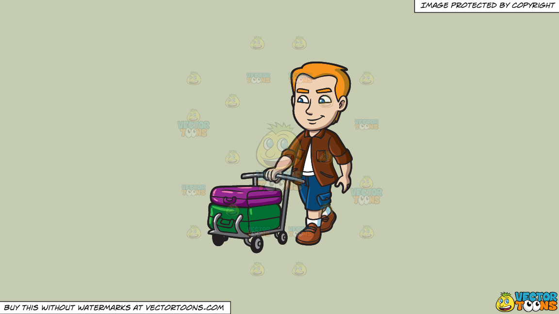 A Man Pushing A Trolley With His Luggage On A Solid Pale Silver C6ccb2 Background thumbnail