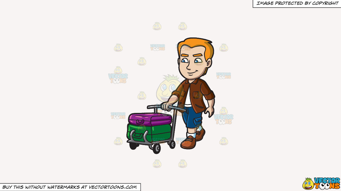 A Man Pushing A Trolley With His Luggage On A Solid White Smoke F7f4f3 Background thumbnail