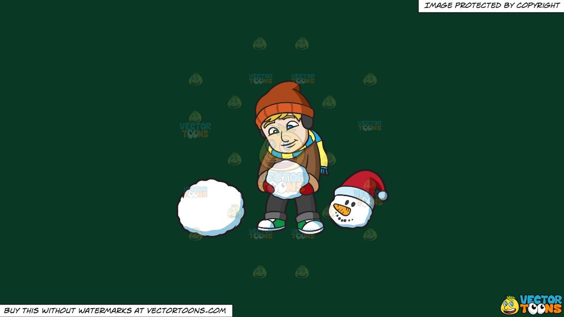 A Man Putting A Snowman Together On A Solid Dark Green 093824 Background thumbnail