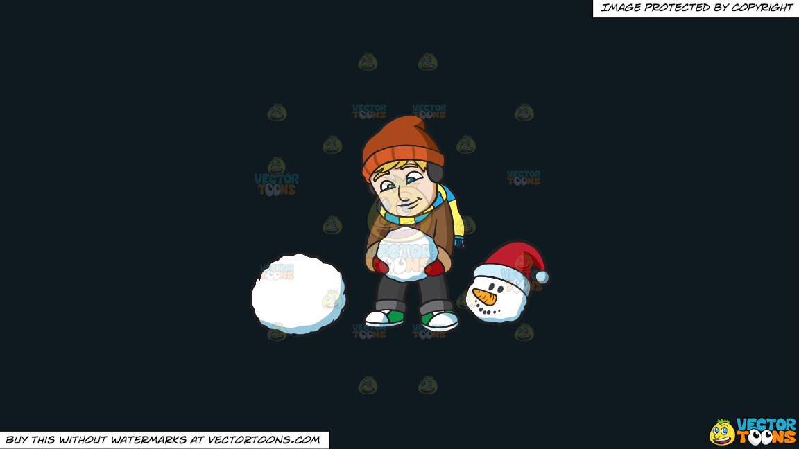 A Man Putting A Snowman Together On A Solid Off Black 0f1a20 Background thumbnail