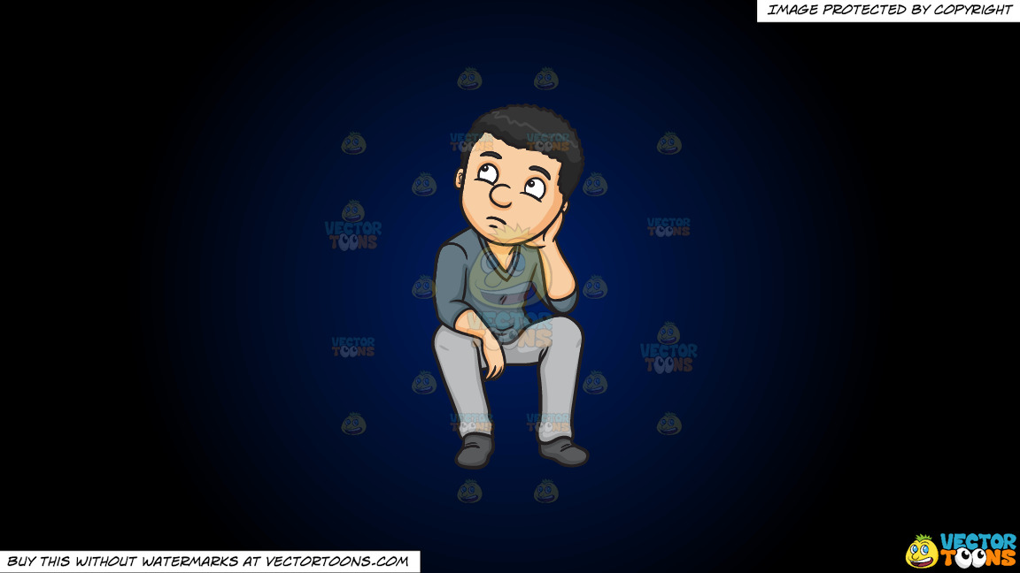 A Man Quietly Thinks Of A Solution To A Problem On A Dark Blue And Black Gradient Background thumbnail