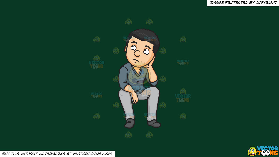 A Man Quietly Thinks Of A Solution To A Problem On A Solid Dark Green 093824 Background thumbnail