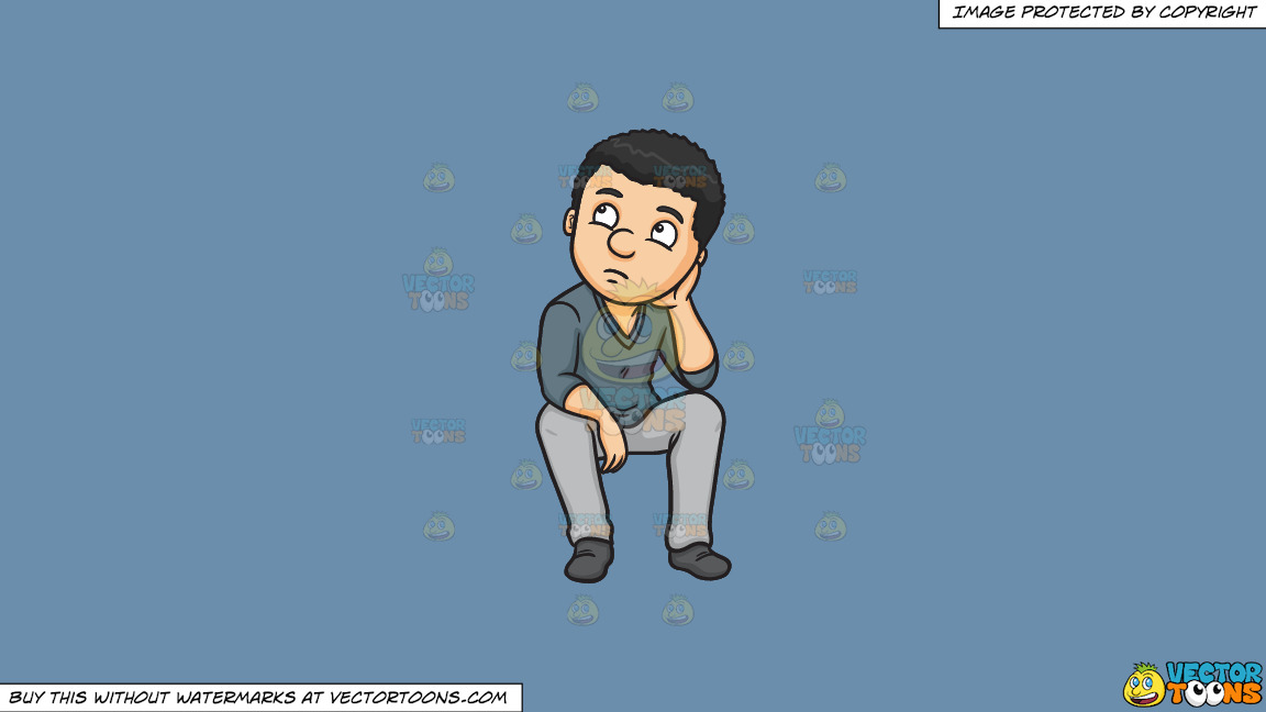 A Man Quietly Thinks Of A Solution To A Problem On A Solid Shadow Blue 6c8ead Background thumbnail