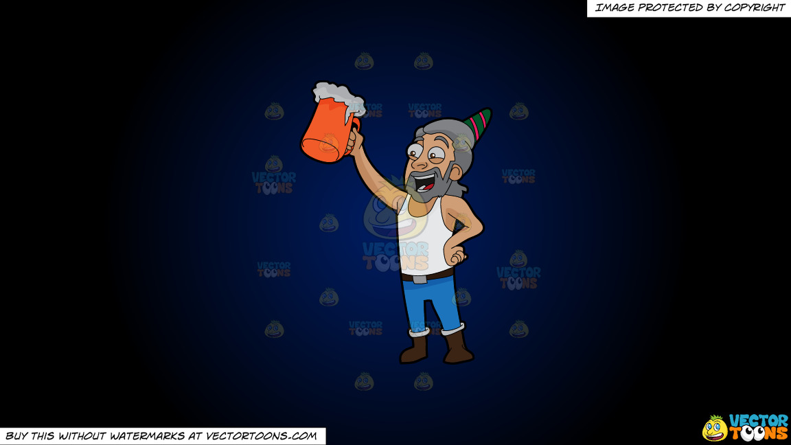 A Man Raising A Beer Mug To Celebrate A Birthday On A Dark Blue And Black Gradient Background thumbnail