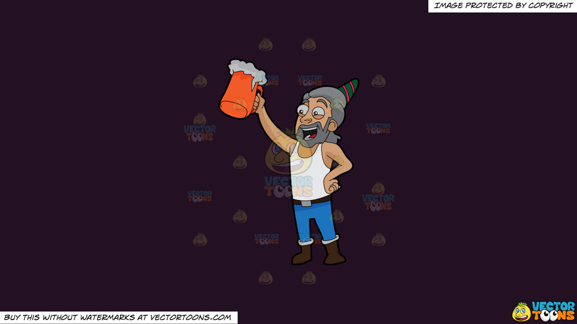 A Man Raising A Beer Mug To Celebrate A Birthday On A Solid Purple Rasin 241023 Background thumbnail