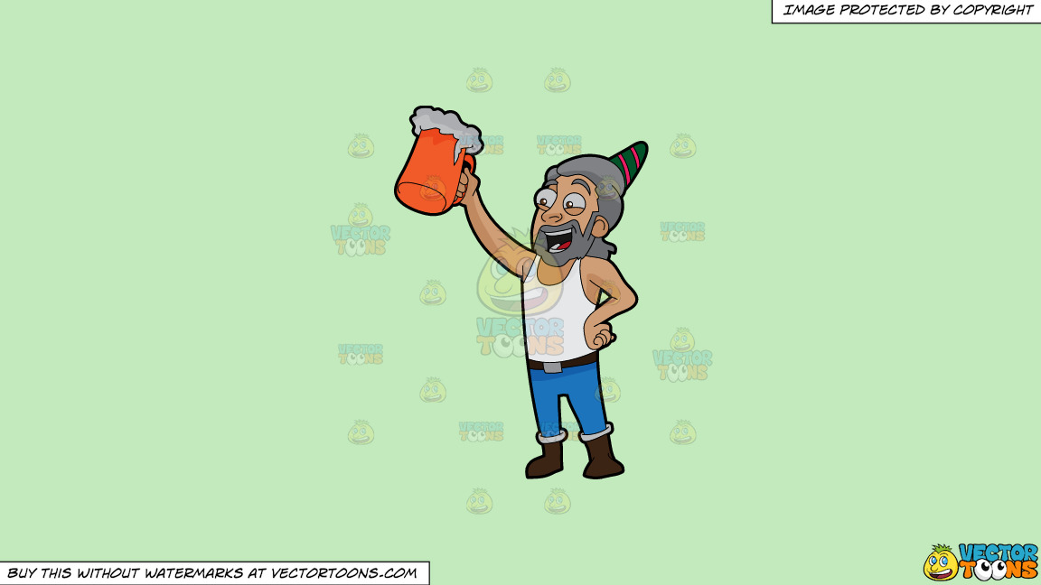 A Man Raising A Beer Mug To Celebrate A Birthday On A Solid Tea Green C2eabd Background thumbnail