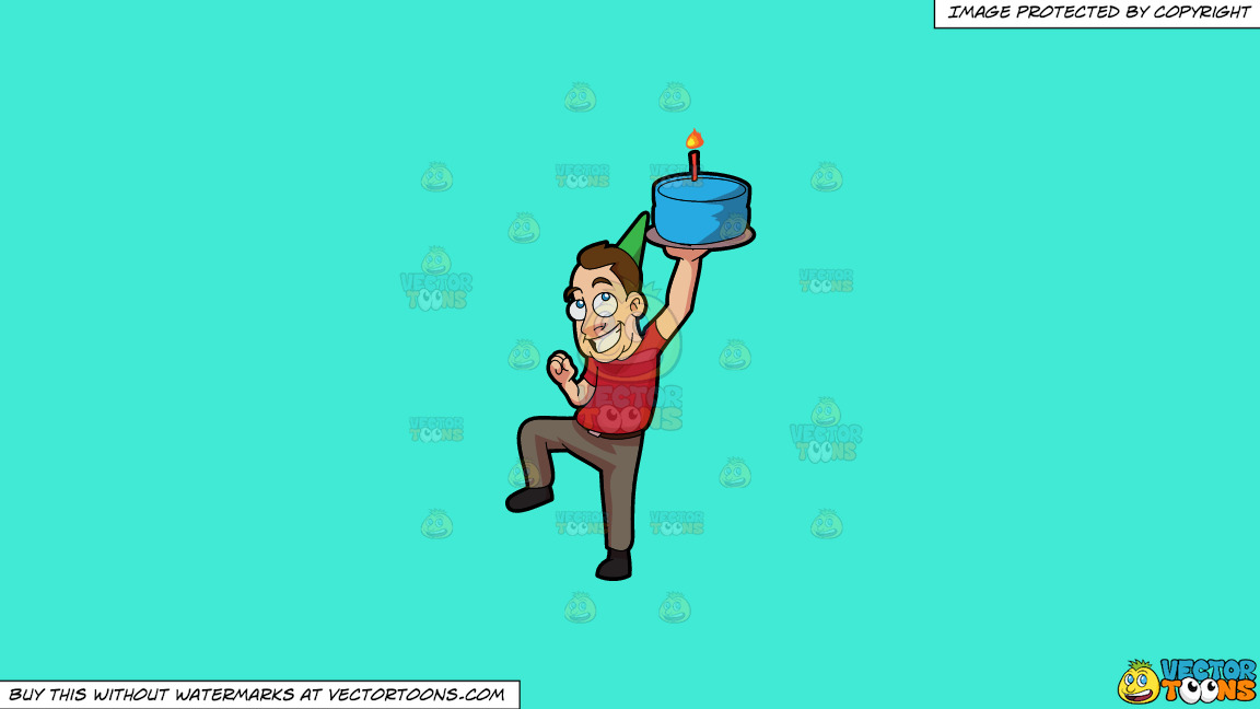 A Man Raising A Birthday Cake On A Solid Turquiose 41ead4 Background thumbnail