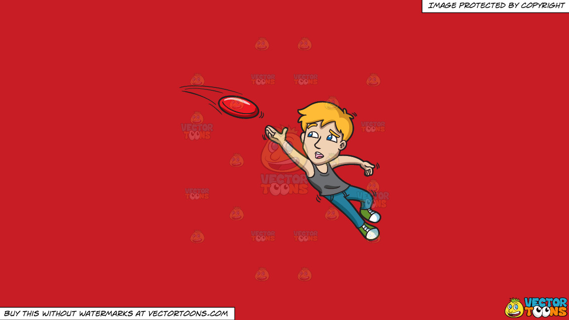 A Man Reaches Up To Catch A Frisbee On A Solid Fire Engine Red C81d25 Background thumbnail