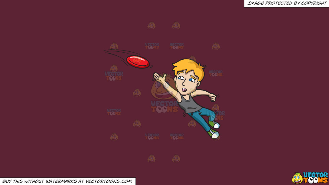 A Man Reaches Up To Catch A Frisbee On A Solid Red Wine 5b2333 Background thumbnail