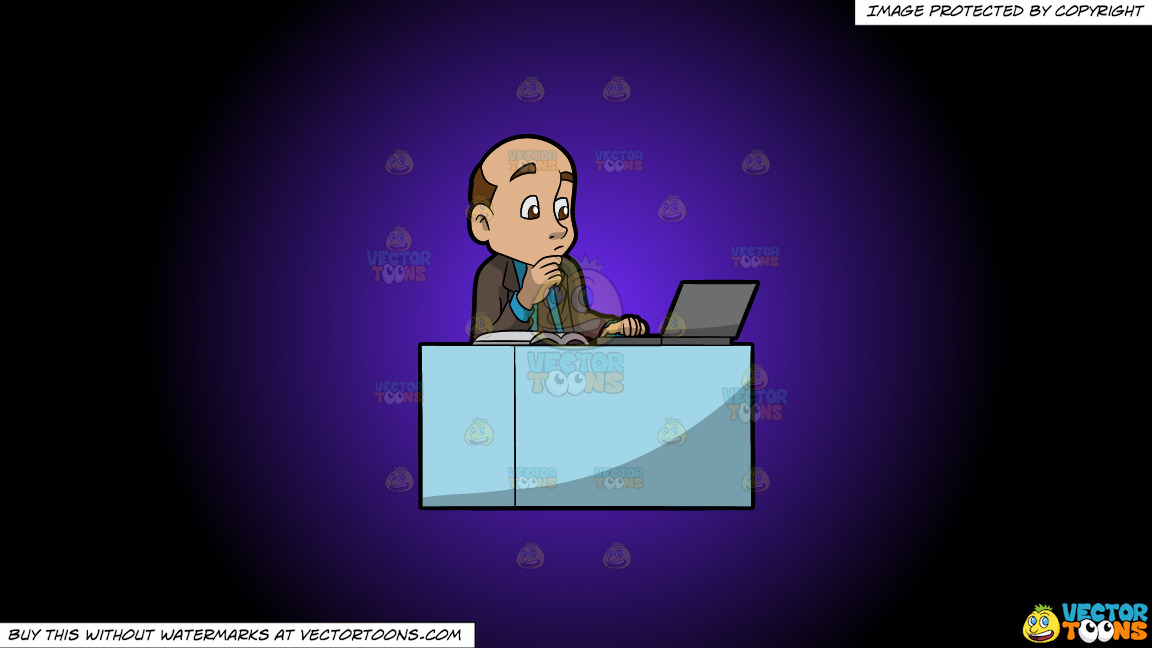 A Man Reading From His Laptop And Book On A Purple And Black Gradient Background thumbnail