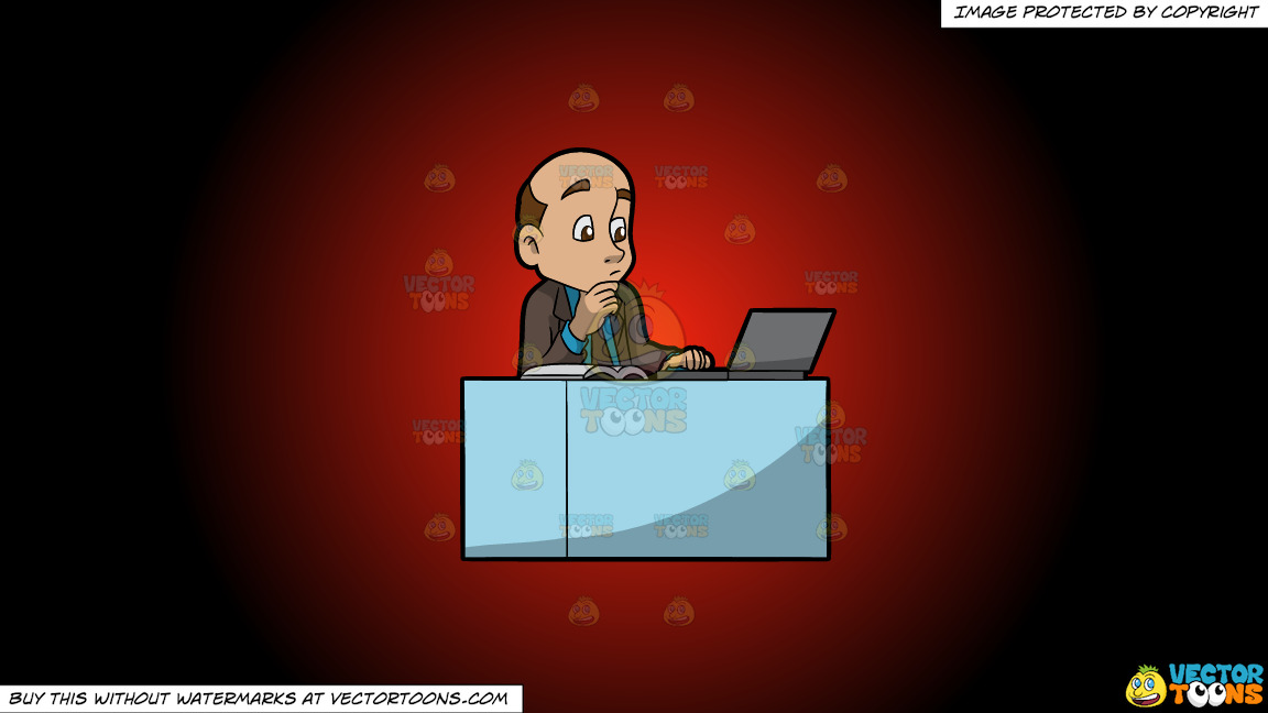 A Man Reading From His Laptop And Book On A Red And Black Gradient Background thumbnail