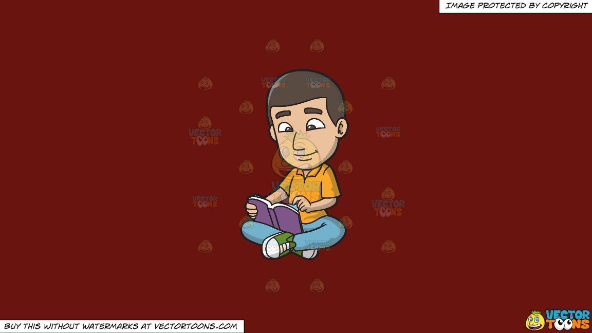 A Man Reading His Favorite Book On A Solid Maroon 69140e Background thumbnail