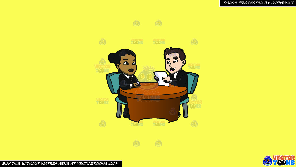 A Man Reading The Resume Of A Black Female Applicant On A Solid Sunny Yellow Fff275 Background thumbnail