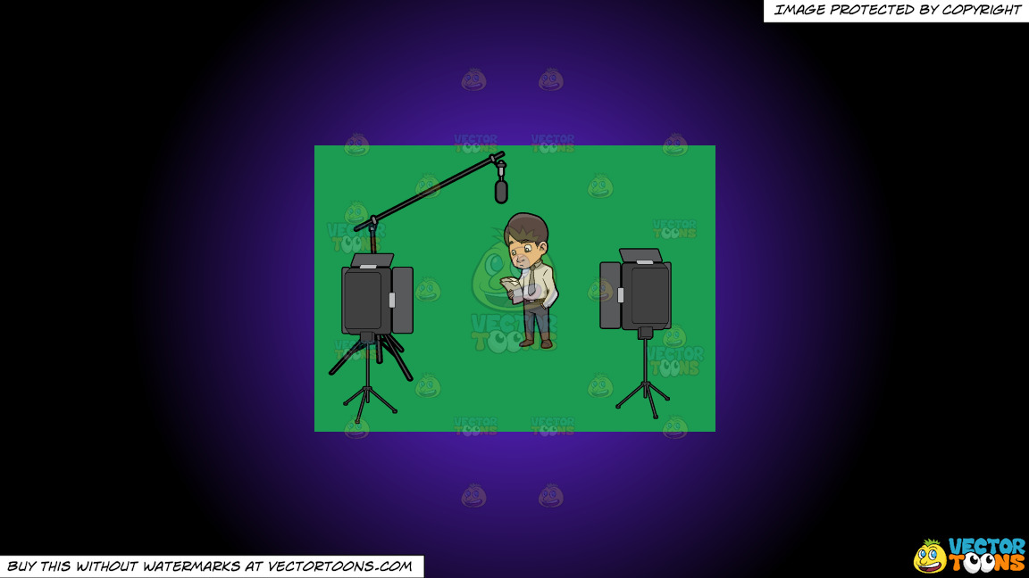 A Man Reading The Script Before Filming Something On A Purple And Black Gradient Background thumbnail