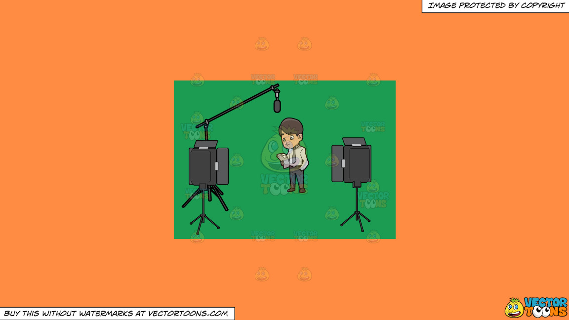 A Man Reading The Script Before Filming Something On A Solid Mango Orange Ff8c42 Background thumbnail