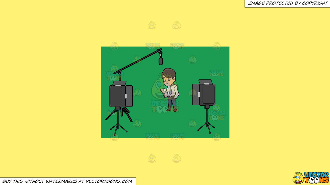 A Man Reading The Script Before Filming Something On A Solid Sunny Yellow Fff275 Background thumbnail