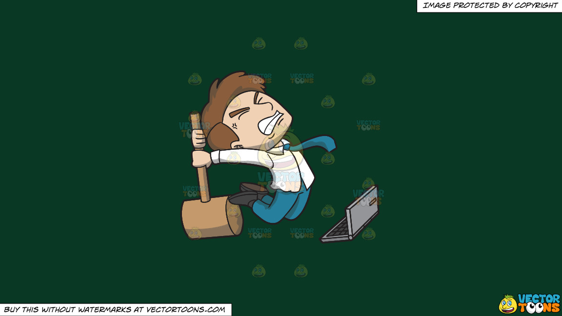 A Man Ready To Smash His Annoying Computer On A Solid Dark Green 093824 Background thumbnail