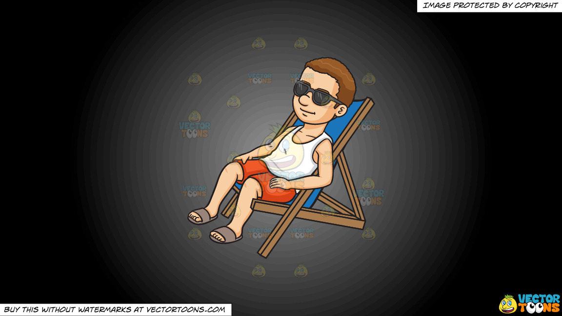 A Man Relaxing On A Lounger On A Grey And Black Gradient Background thumbnail