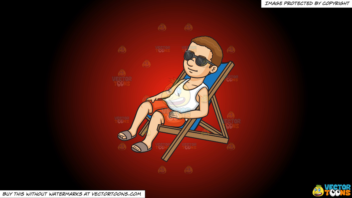 A Man Relaxing On A Lounger On A Red And Black Gradient Background thumbnail