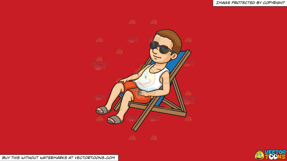 A Man Relaxing On A Lounger On A Solid Fire Engine Red C81d25 Background thumbnail