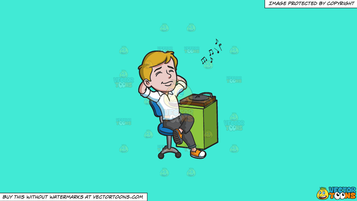 A Man Relaxing To The Vintage Sound Of A Vinyl Player On A Solid Turquiose 41ead4 Background thumbnail