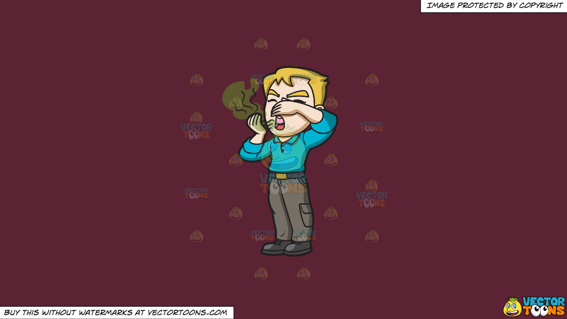 A Man Repulsed By His Stinky Breath On A Solid Red Wine 5b2333 Background thumbnail